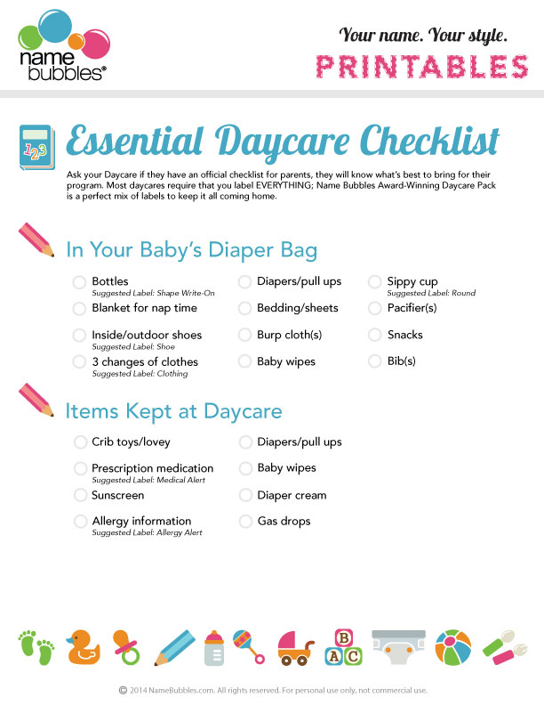 The Essential Daycare Checklist