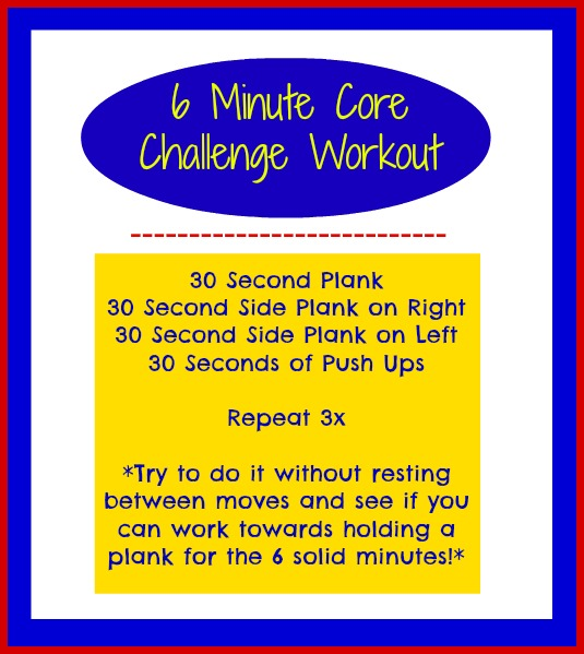 6 minute core challenge workout