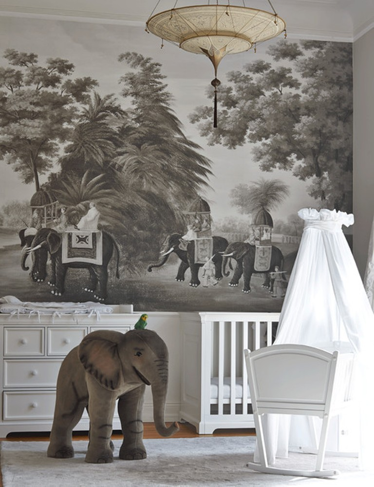 12 dreamy accent walls for baby s room by houzz for Baby mural wallpaper