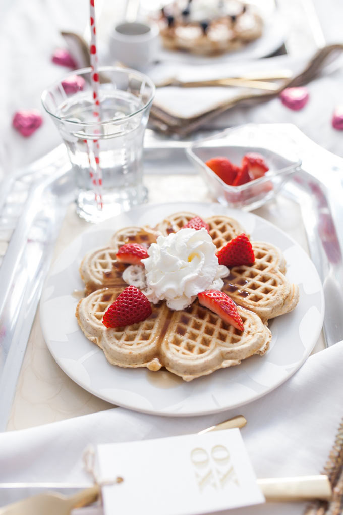 Heart-Shaped-Waffles-for-Valentines-Day-Breakfast-in-bed-by-Fashionable-Hostess