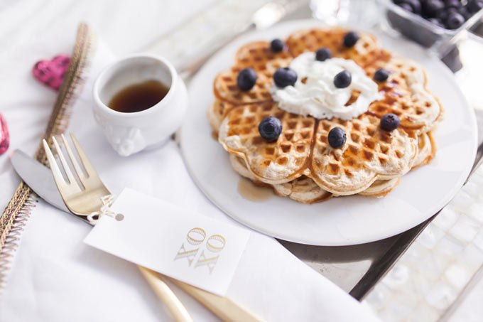 Valentines-Day-Breakfast-in-bed-with-heart-waffles-with-blueberries-by-Fashionable-Hostess