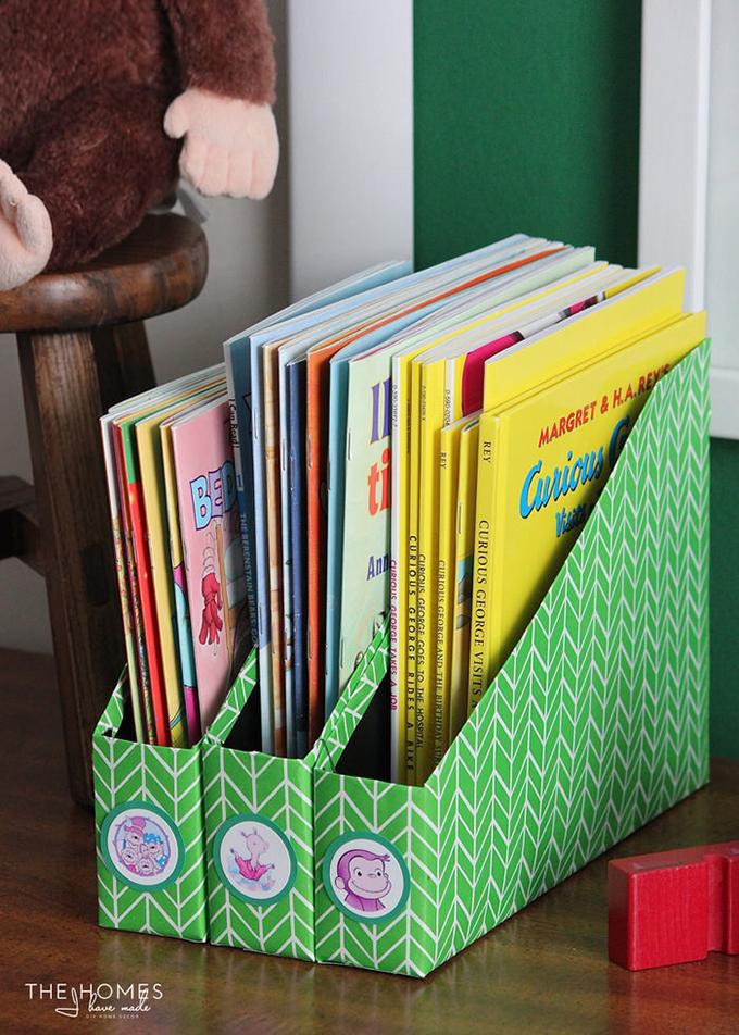 Diy book storage using cereal boxes for Kids book storage diy