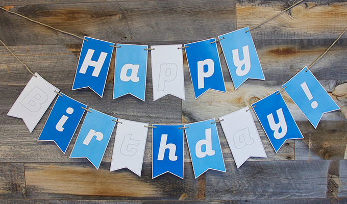 Blue Happy Birthday Sign